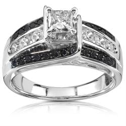 14k White Gold 1ct TDW Black and White Diamond Ring