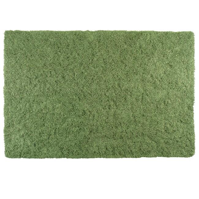 Lazo Green Shag Rug (5'3 x 7'7)