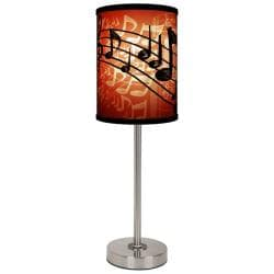 Lamp-In-A-Box Red Musical Notes Brushed Nickel Table Lamp