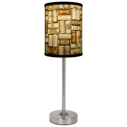 Lamp-In-A-Box Wine Corks Brushed Nickel Table Lamp