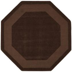 Hand-tufted Chocolate Border Wool Rug (8' Octagon)