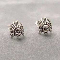 Petite Native American Indian Head Sterling Silver Earrings (Thailand)