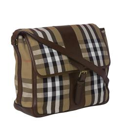 Burberry Small House Check Canvas/ Leather Messenger Bag