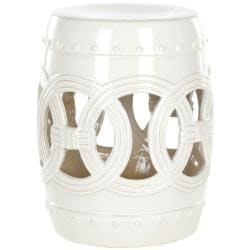 Paradise Double Coin White Ceramic Garden Stool