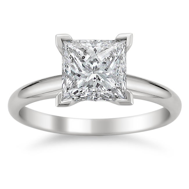 14k White Gold 3ct TDW Princess Diamond Solitaire Ring (J, I1)