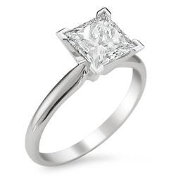 Montebello 14k White Gold 3ct TDW Princess Diamond Solitaire Ring (J, I1)