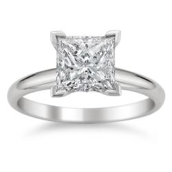  14k White Gold 2ct TDW Princess Diamond Solitaire Ring (F, SI3)
