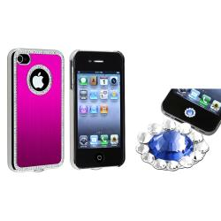 Hot Pink Bling Case/ Blue Diamond Sticker for Apple iPhone 4/ 4S