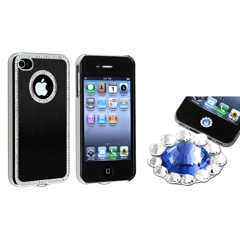 Black Bling Case/ Blue Diamond Sticker for Apple iPhone 4/ 4S