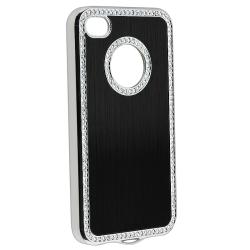 Black Bling Case/ Blue Diamond Sticker for Apple iPhone 4/ 4S