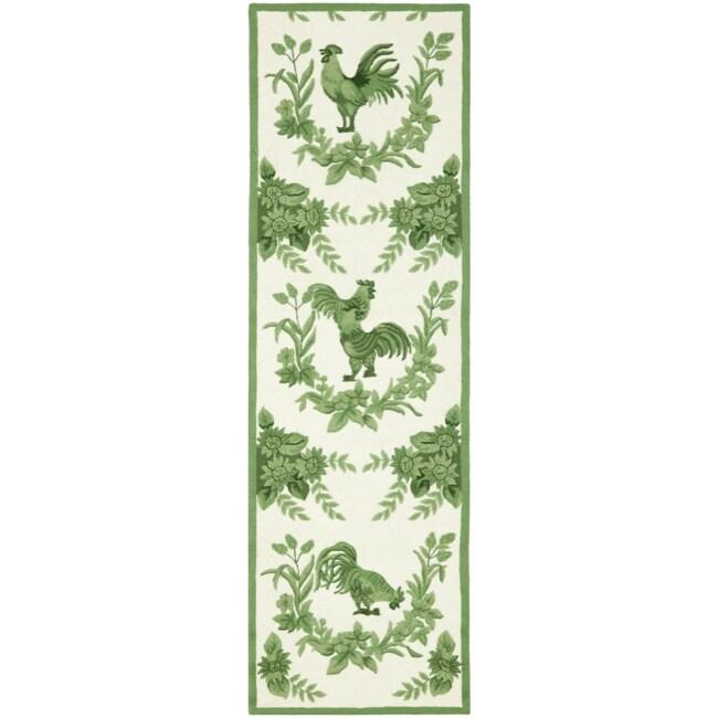 Safavieh Hand-hooked Hens Ivory/ Green Wool Rug (2'6 x 6')