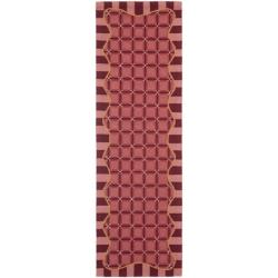 Hand-hooked Chelsea Wine Red Wool Rug (2'6 x 6')