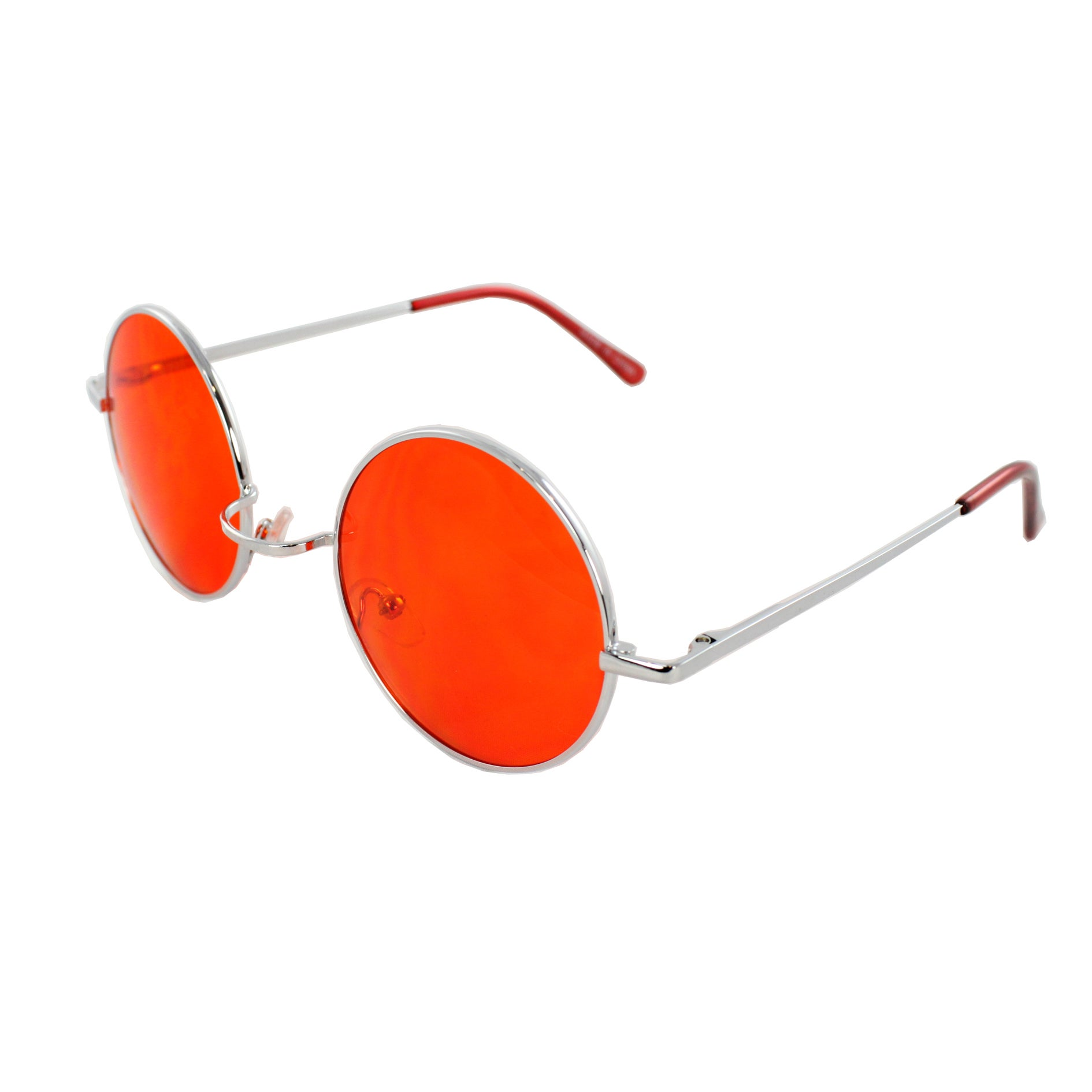 Retro Round Sunglasses Silver Red Frame and Red Lenses for Women and Men