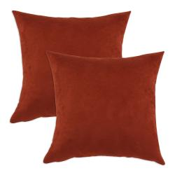 Passion Suede Brick Simply Soft S-backed 17x17 Fiber Pillows (Set of 2)