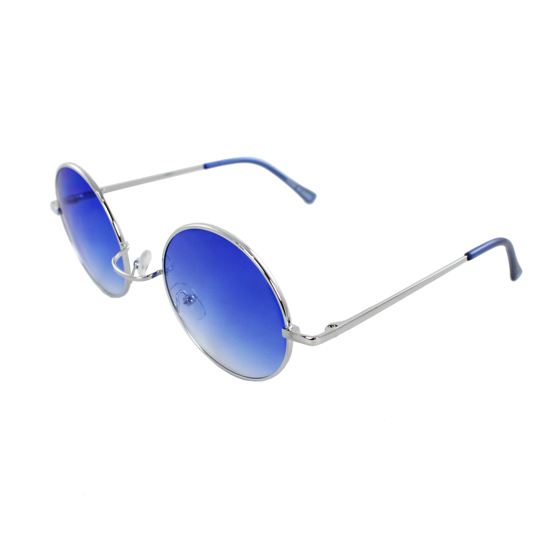 Retro Round Sunglasses Silver Blue Frame and Blue Gradient Lenses for Women and Men