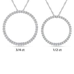 Miadora 14k White Gold 1/2ct or 3/4ct TDW Diamond Circle Necklace (G-H, I1)