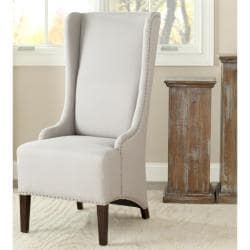 Deco Bacall Nailhead Beige Linen Side Chair
