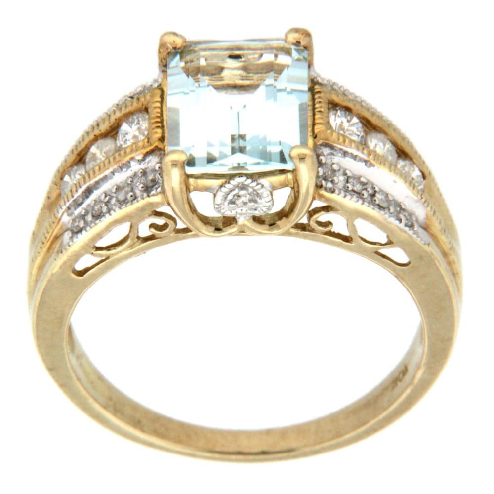 D'sire 10k Yellow Gold Aquamarine and 1/3ct TDW Diamond Ring (H-I, I1-I2)