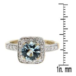 D'sire 10k Yellow Gold Aquamarine and 3/4ct TDW Diamond Ring (H-I, I1-I2)