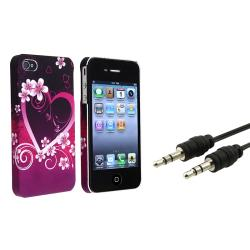Purple Heart Flower Case/ Audio Cable for Apple iPhone 4/ 4S