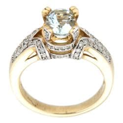 D'sire 10k Yellow Gold Aquamarine and 3/8ct TDW Diamond Ring (H-I, I1-I2)