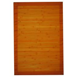 Asian Hand-woven Orange Bamboo Rug (2' x 3')