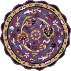 Hand Tufted Lucinda Grape Wool Rug (3'0 Round)