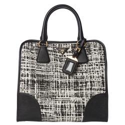 Prada White/ Black Tweed/ Saffiano Leather Tote Bag