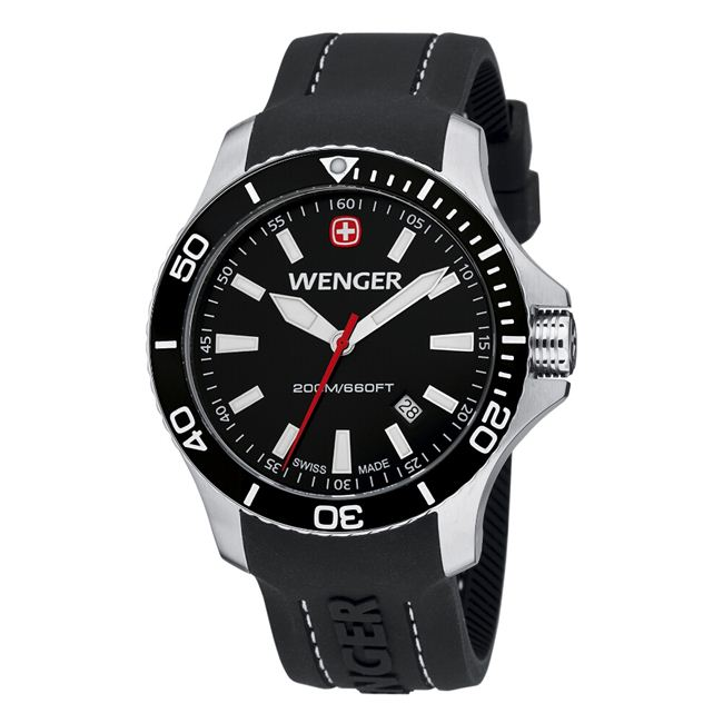 Wenger Men's Sea Force Black Dial White Accent Rubber Band Diver Watch - 0641.103