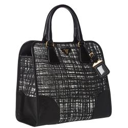 Prada Black/ White Tweed/ Saffiano Leather Tote Bag