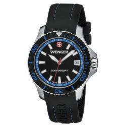 Wenger Women's Sea Force Black Dial Blue Accent Rubber Band Diver Watch - 0621.102
