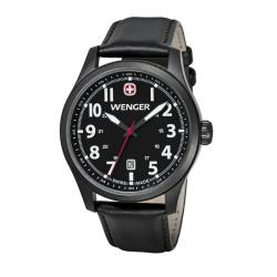 Wenger Men's TerraGraph Black Dial Black Leather PVD Coating Watch - 0541.101