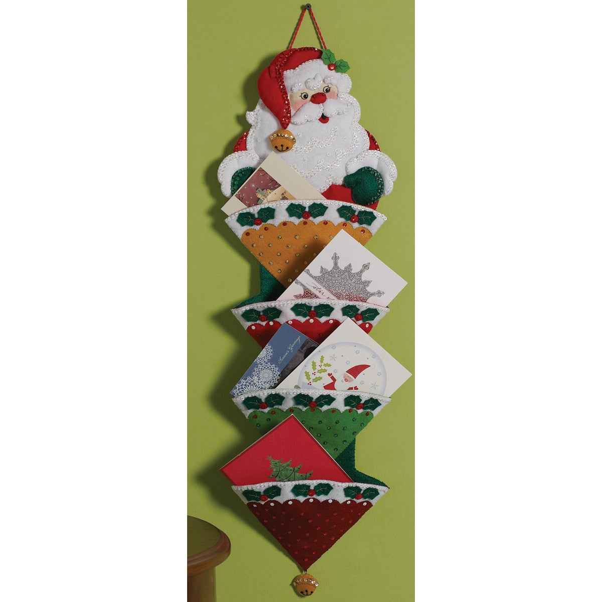 "Holly Jolly Santa Card Holder Felt Applique Kit-12""X24"""