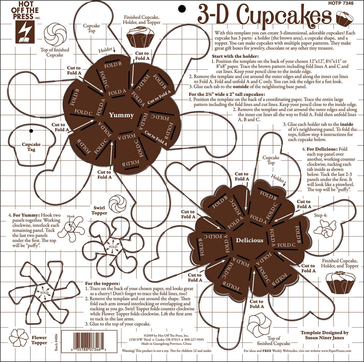 "Hot Off The Press Templates 12""X12""-3-D Cupcakes"