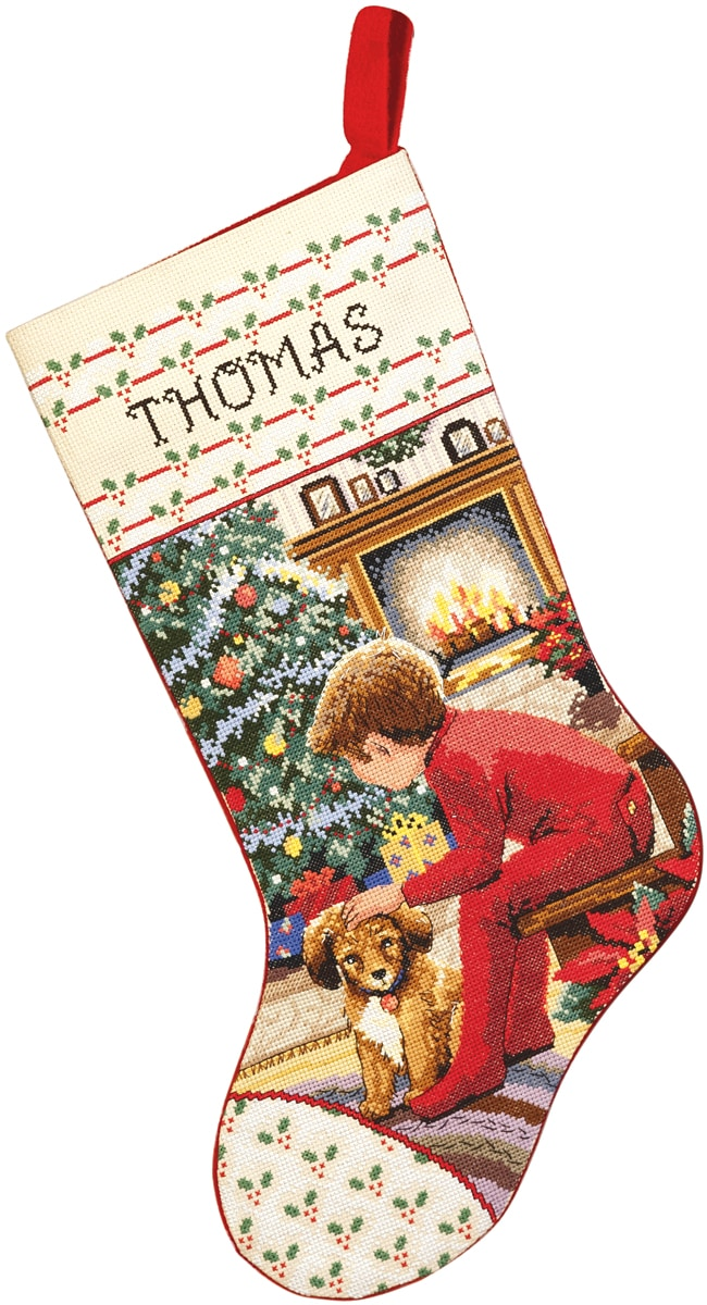 "JANLYNN Waiting For Santa Stocking Counted Cross Stitch Kit-18"" Long 14 Count at Sears.com"