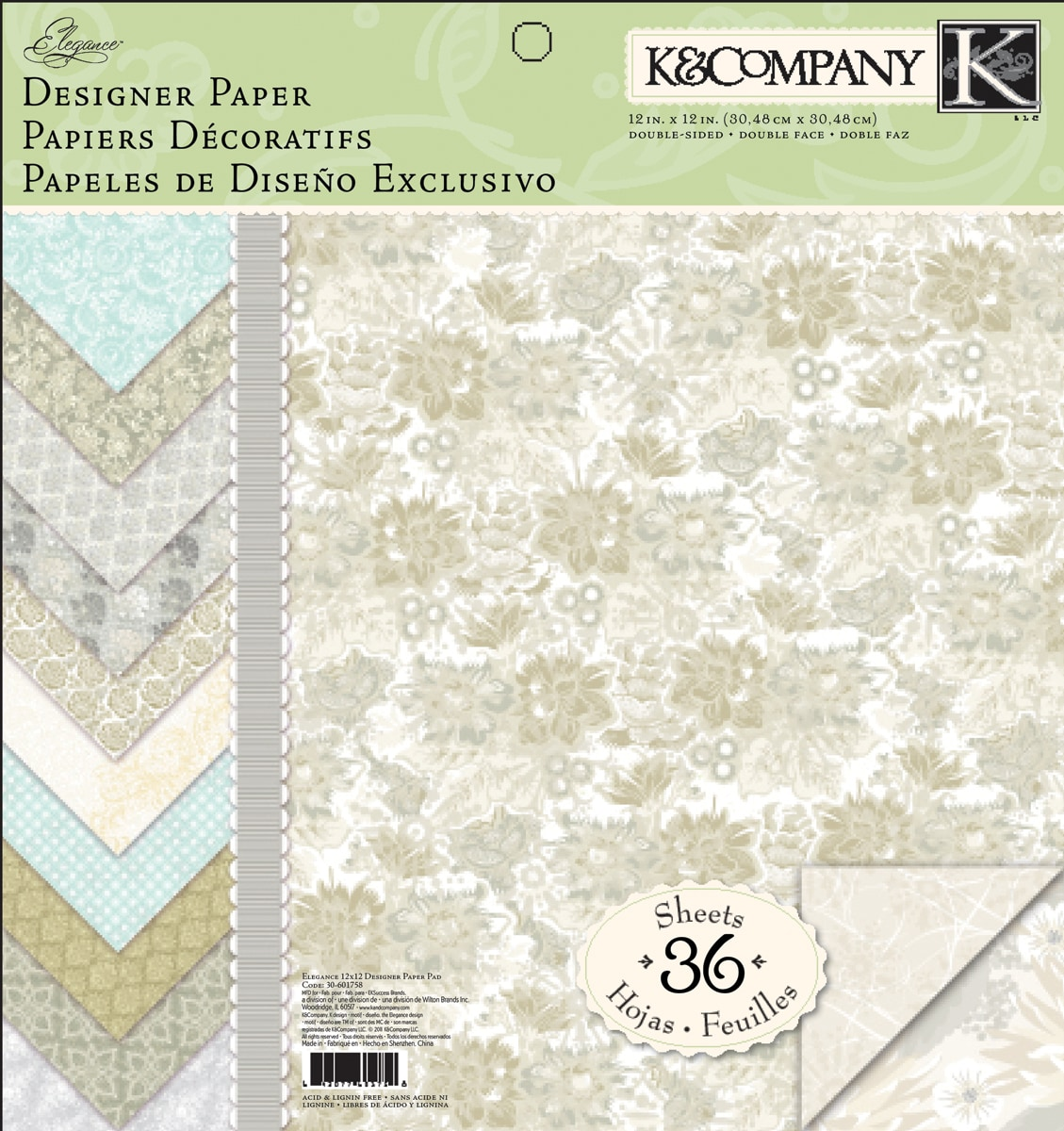"""Elegance Designer Paper Pad 12""""X12""""-36 Double-Sided Sheets"""