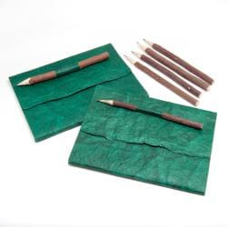 Set of 2 Handmade Paper Journals with Neem Pencils (India)