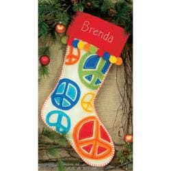 "Peace Signs Stocking Felt Applique Kit-19"" Long"