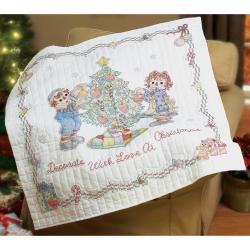 Raggedy Ann Decorate With Love Lap Quilt Stamped Cross Stitc-45