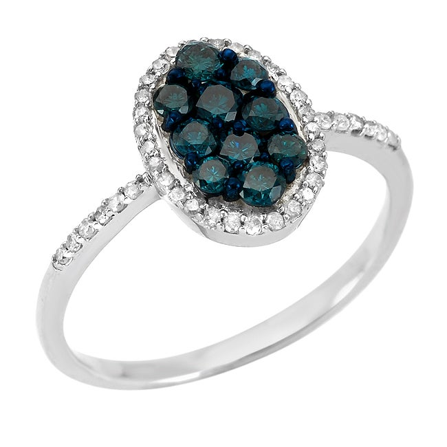 10k White Gold 5/8ct TDW Blue and White Diamond Ring (G-H, SI1-SI2)