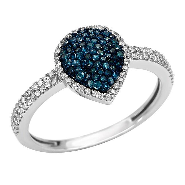 10k Gold 1/2ct TDW Blue and White Diamond Teardrop Ring (G-H, I1-I2)