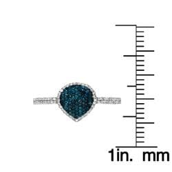 10k Gold 1/2ct TDW Blue and White Diamond Teardrop Ring (G-H, I1-I2)