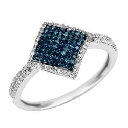 10k White Gold 1/2ct TDW Blue and White Diamond Ring (G-H, I1-I2)