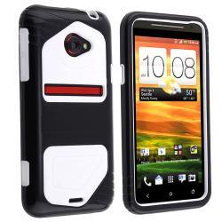 White Skin/ Black Hard Hybrid Case for HTC EVO 4G LTE