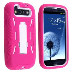 White/ Hot Pink Hybrid Case with Stand for Samsung Galaxy S III i9300