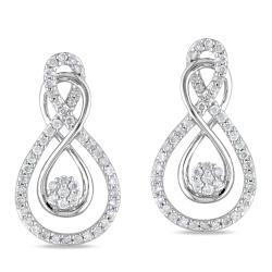 Miadora 10k White Gold 1/2ct TDW Round-cut Diamond Earrings (G-H, I1-I2)