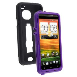 Purple Hard/ Black Skin Hybrid Case with Stand for HTC EVO 4G LTE