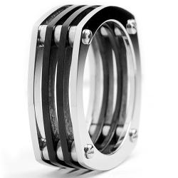 Oliveti Stainless Steel Men's Two-tone Assembled Ring (7mm)