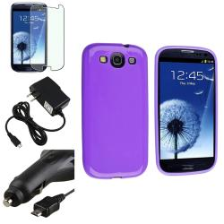 Purple Case/ Protector/ Travel/ Car Charger for Samsung Galaxy S III