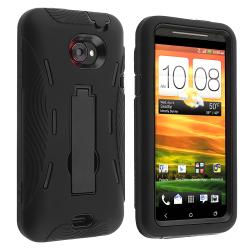 Black Hard/ Black Skin Hybrid Case with Stand for HTC EVO 4G LTE